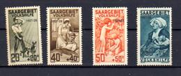 1927  Sarre, œuvres Populaires Surchargés, 121 / 124 **,  Cote 300 €, - 1920-35 Saargebiet – Abstimmungsgebiet