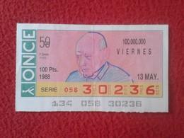 CUPÓN DE LA ONCE SPANISH LOTERY CIEGOS SPAIN LOTERÍA ESPAÑA BLIND 1988 PAU CASALS MÚSICO MÚSICA MUSIC SPAIN CATALONIA VE - Billets De Loterie