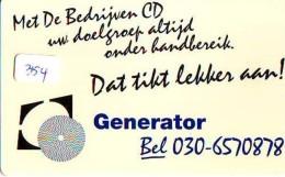 NEDERLAND CHIP TELEFOONKAART CRE 354 * GENERATOR  *  Telecarte A PUCE PAYS-BAS * ONGEBRUIKT MINT - Netherlands