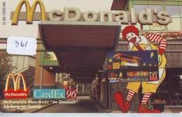 RARE * NEDERLAND CHIP TELEFOONKAART CRE 361 * McDonalds * CardEx 96 *  Telecarte A PUCE PAYS-BAS * ONGEBRUIKT MINT - Netherlands