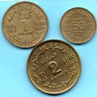 (r65)  MAROC / MOROCCO  50 CENTS + 1 + 2 FRANCS 1945 / 1364 (3 Coins) - Morocco