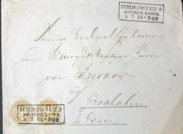"""1864, 2-mal 3 Groschen Wappen Auf Brief An Einen Rittergutsbesitzer Auf Braaholm Bei Exin Mit Ra3 """"""""BERLIN POST EXP. 9 P - Preussen"""