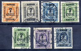 DENMARK 1926 Surcharges 7 Øre On Official Stamps Set Of 7, Used. Michel 159-64 - 1913-47 (Christian X)