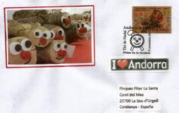 ANDORRA. Timbre En Bois.Tio De Nadal, (gateau Bûche De Noël)   (Wood Paper Stamp)  Lettre FDC Année 2017 - Christmas