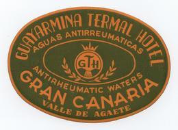 GRAN CANARIAS CANARIAS HOTELS HOTEL LUGGAGE LABEL ETIQUETTE DE VALISE SPAIN ESPAÑA ESPANA  VALLE DE AGAETE MEDICAL WATER - Etiquettes D'hotels