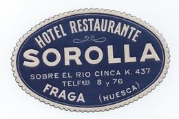 FRAGA HUESCA HOTELS HOTEL LUGGAGE LABEL ETIQUETTE DE VALISE SPAIN ESPAÑA ESPANA SOBRE EL RIO CINCA - Hotel Labels