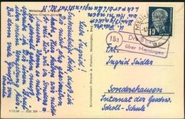 """1952, Postkarte (Anton-Ulrich-Strasse) Mit PSt-Stempel """"15a Dreißigacker über Meiningen"""" Mit Weiterverwendeter PLGZ - [6] République Démocratique"""