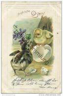 Fröhliche Ostern - Küken - Veilchen - Prägedruck - Easter