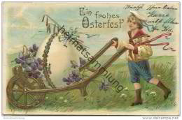 Ein Frohes Osterfest - Junge Im Matrosenanzug Mit Schubkarre Ei Und Veilchen - Prägedruck - Easter