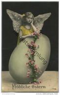 Fröhliche Ostern - Osterei - Engel - Foto-AK - Easter