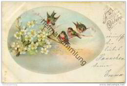 Fröhliche Ostern - Blüten - Vögelchen - Osterei - Easter