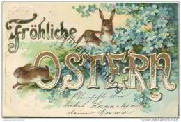 Fröhliche Ostern - Osterhasen - Prägedruck - Easter