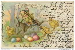Fröhliche Ostern - Osterhase - Küken Als Jockey - Ostereier - Easter