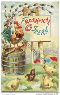 Froehliche Ostern - Hahn - Küken - Prägedruck - Easter