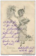 Fröhliche Ostern - Junge Frau Mit Blumenstrauss - Osterhasen - Easter