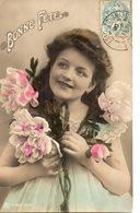 Vraie Photo Colorisée : Jeune Femme Aux Pivoines - Women