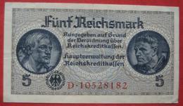 5 Reichsmark ND (Reichskreditkassen) (WPM R138b) - [ 4] 1933-1945 : Troisième Reich
