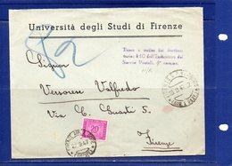 ##(DAN186/1)1947- Busta Università Di Firenze Da Firenze Per Città, Tassa A Carico L.20 Assolta Con Segnatasse L.20 - 1946-.. République
