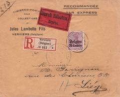 Occupation Allemande En Belgique Lettre Recommandée Par Exprès Verviers - Occupation 1914-18