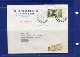 ##(DAN186/1)1959-busta Raccomandata Da Firenze Per Savona Affrancata Con Il Valore Isolato L.110 Segantini - 1946-60: Storia Postale