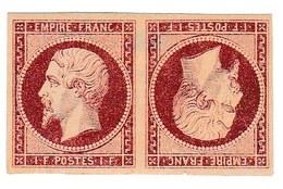"""N°18 1F Napoléon Tête Bêche """"Faux De Spérati"""" - 1853-1860 Napoléon III."""