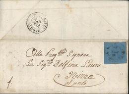 YT Sardaigne 5 CAD Genova 1854 Arrivée Nizza Maritt A Azienda Generale Di Marina Ufficio Militare Del 2 Dipartimento - Sardinien
