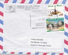 BUSTA  VIAGGIATA - BOLIVIA - CIUDAD DE LOS NINOS - COCHABAMBA  DESTINAZIONE BERGAMO ( ITALIA ) 2002 - Bolivia