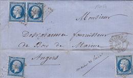 19054# INDRE NAPOLEON N° 14 LETTRE Obl PC + CHATEAUROUX 1858 T15 Pour ANGERS MAINE ET LOIRE - 1849-1876: Période Classique