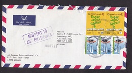 Kuwait: Airmail Cover To Netherlands, 1992, 5 Stamps, Cancel Missent To Philippines (damaged, See Scan) - Koeweit