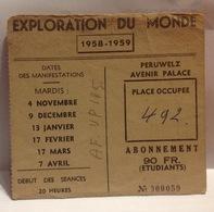 DH. 51. Ancienne Souche D'abonnement A L'exploration Du Monde à Peruwelz Pour 1958-59 - Documentos Históricos