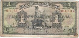 Bolivia 1 Boliviano 11-05-1911 (1929) Pick 112 4 Ref 752-5 - Bolivia