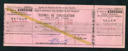 """Ticket Billet 1946 Pour Agents SNCF Et Leur Famille """"Aller/retour Saint Ouen-les-Docks Pour Lourdes"""" - Chemins De Fer"""