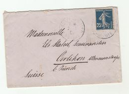 1908 FRANCE Stamps COVER To Oerlikon SWITZERLAND - France