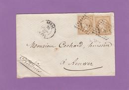 """LETTRE AVEC 2 X NO 21 DE DOUAI POUR RENWEZ AVEC 2 CACHETS AMBULANT """"ARRAS A PARIS"""" ET """"PARIS A GIVET"""" AU VERSO. - 1862 Napoléon III"""
