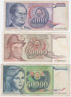 Yugoslavia SET - 5000 20000 50000 Dinara 1985 1988 - Fine+ - Jugoslavia