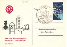 Germany DDR Postcard Special Postmark Frankfurt 26-2-1977 Women Chess Games - Schaken