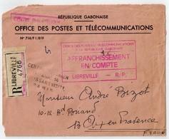 GABON  Lettre Recommandée E LIBREVILLE Pour La France 1969 - Gabon