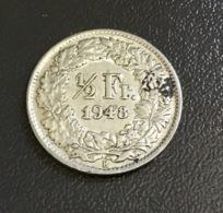 SVIZZERA - HELVETIA - 1948 - Moneta 1/2 FRANCO ARGENTO , Berna , Ottima - Svizzera