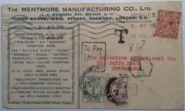 Palestine Postage Due Cds JERUSALEM 1924 On ADVERTISING Cover From Hackney GB   (lettre Israel  Brief) - Palestine