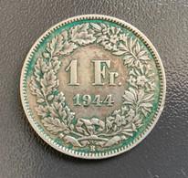 SVIZZERA - HELVETIA - 1944 - Moneta 1 FRANCO ARGENTO , Berna , Ottima - Svizzera