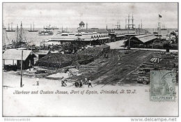 CARAÏBES TRINIDAD < HARBOUR AND CUSTOM HOUSE, PORT OF SPAIN, TRINIDAD, B.W.J. - Cartes Postales
