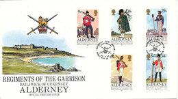 Alderney FDC 24-9-1985 Regiments Of The Garrison UNIFORMS With Cachet - Alderney