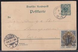 DR Ganzsache K1 Schwittersdorf 9.6.97 Mit Vignette Sächs.-Thür. Gewerbe-Ausstellung - Deutschland