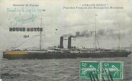 BATEAUX  Paquebot Armand Béhic Bonne Année 1914 Circ. Bombay Cachet Maritime Verso  2scans - Steamers