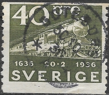 SWEDEN 1936 Tercentenary Of Swedish Post - 40ore Class F Steam Locomotive And Mail Train FU - Used Stamps