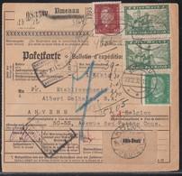 DR Paketkarte Mif Minr.2x 364,411,421 Ilmenau 22.12.32 Gel. Nach Belgien - Deutschland
