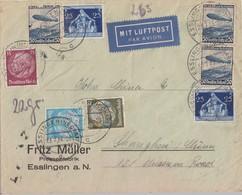 DR Brief Luftpost Mif Minr.520,521,523,3x 606,2x 620 Esslingen 23.7.36 Gel. Nach China - Briefe U. Dokumente
