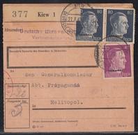 Ukraine Paketkarte Mif Minr.15, 2x 18 Kiev 27.7.43 Gel. Nach Melitopol - Besetzungen 1938-45
