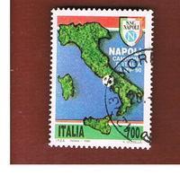 ITALIA REPUBBLICA  - SASS. 1934   -      1990 NAPOLI CAMPIONE  -      USATO - 6. 1946-.. República