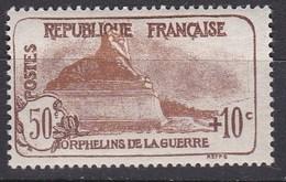 N° 230 * Neuf Avec Trace De Charnière 50 Centimes Plus Surcharge 10 Centimes, Brun Foncé Et Brun - France